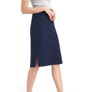 Blue Pencil skirt with small slit on both sides.